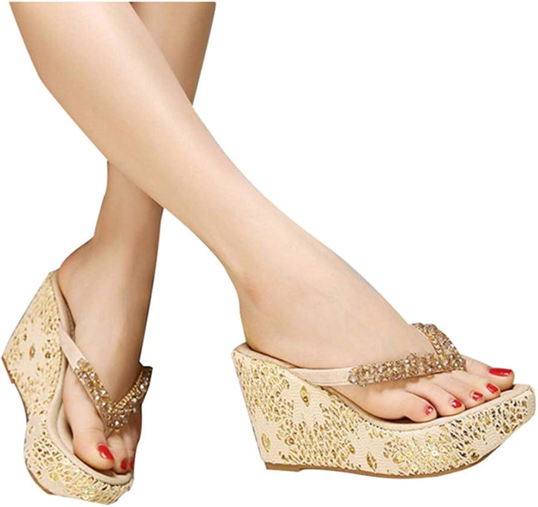 Women's Beading High Heels Platform Wedges Slides Summer Flip Flips Comfort Beach Sexy Thick Sole Thong Sandals