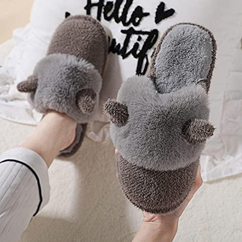 MLLM Padre-hijo bebé zapatillas de algodón lindo cuerna zapatos de felpa niña zapatillas calientes-D_34-35