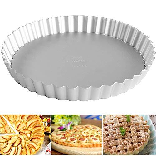 Quiche Tart Pan Antiadherentes, FANDE Molde para tarta con fondo desmontable, Aleación de Aluminio anodizado, Round Tart Quiche Pan(28 cm,Plata)