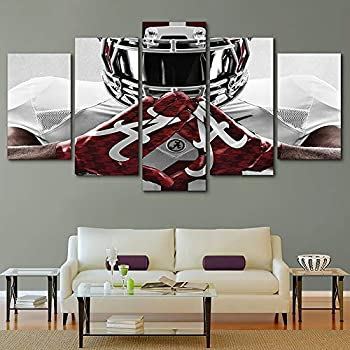 HIMFL Modern Home Decor Canvas Print Alabama Crimson Picture Poster 5 Panel Wall Art Painting for Living Room,A,30×50×2+30×70×2+30×80×1