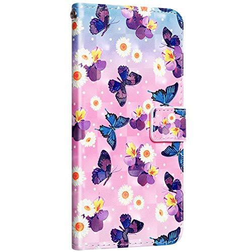 Saceebe Compatible avec Samsung Galaxy A50 Housse Cuir Portefeuille Etui Coque Brillant Bling Glitter Coloré Motif Flip Case Clapet Magnétique Étui Carte Fente avec à Rabat,Papillon