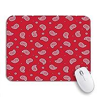 ROSECNY 可愛いマウスパッド ブルーアメリカーナ赤いバンダナパターン伝統的なペイズリータイルカウボーイノンスリップラバーバッキングマウスパッドノートブックコンピュータマウスマット