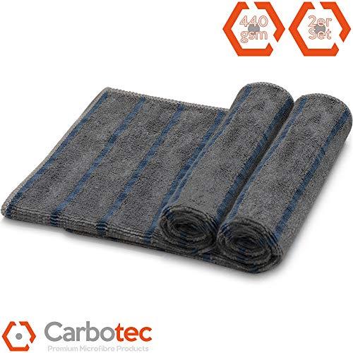 CARBOTEC® Mikrofasertücher-Set 2-TLG – Cockpit-Reinigungstücher zur Auto-Pflege, Mikrofasertuch mit Carbonfasern für Innenraum, Armaturen und Displays, schnell trocknend & antibakterieller Schutz 2er