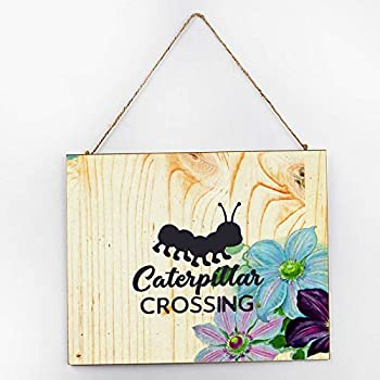 Free Brand Wooden Sign Decor Sign Hanging Sign for Home Decor Caterpillar Crossing Black-01 Decor Plaque Funny Sign Wooden Home Outdoor