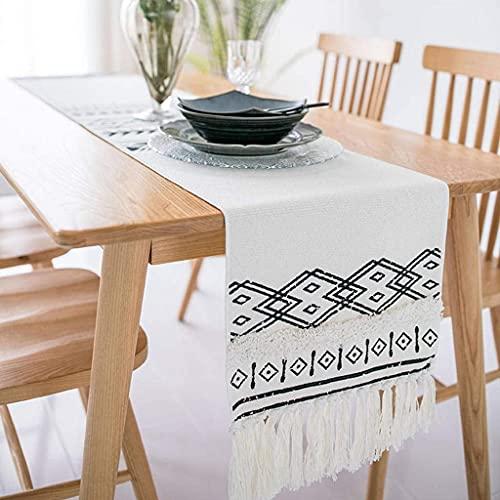 Sywlwxkq Corredores de Mesa con borlas de algodón y Lino, Mesa de Comedor nórdica Americana, Mesa de Centro, Armario de TV, mantel-A-35x260cm