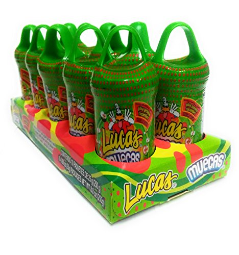 Lucas Muecas Pepino Cucumber Flavored Lollipop with Chili Powder Mexican Candy, 10 Pieces