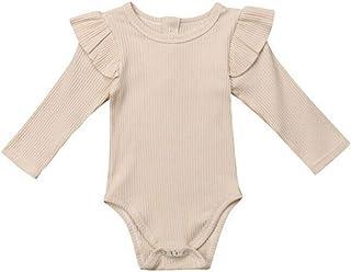 MAYOGO, Ropa Recién Nacido bebé Niña Otoño Color sólido Volantes Ropa bebé Niña Manga Larga Camiseta Mono BotóN Mameluco Bebe Ropa de Bebe Invierno Niña Body Disfraz 0-2 Años Ropa de Dormir para Chica