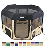EliteField 2-Door Soft Pet Playpen, Exercise Pen, Multiple Sizes and Colors Available for Dogs, Cats and Other Pets (48' x 48' x 32'H, Black+Beige)