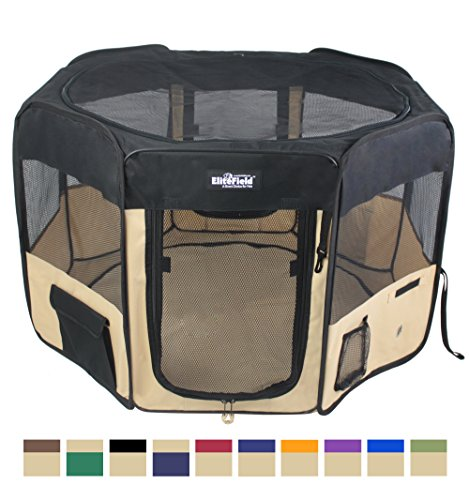 "EliteField 2-Door Soft Pet Playpen, Exercise Pen, Multiple Sizes and Colors Available for Dogs, Cats and Other Pets (48"" x 48"" x 32""H, Black+Beige) Playpens"