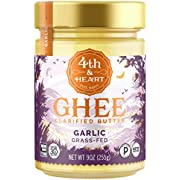 California Garlic Grass-Fed Ghee Butter by 4th & Heart, 9 Ounce, Keto, Pasture Raised, Non-GMO, Lactose Free, Certified Paleo