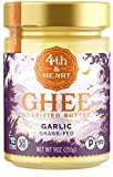 California Garlic Grass-Fed Ghee Butter by 4th & Heart, 9 Ounce, Keto, Pasture Raised, Non-GMO,...