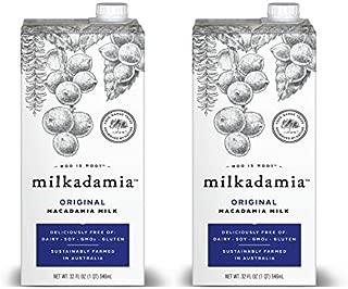 Milkadamia Original Macadamia Milk (32 oz., 2 Count) - Dairy Free, Vegan, Lightly Sweetened