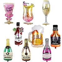 Ballon Champagne Ensemble: Livré avec 9pcs bouteille de champagne ballons, différents styles de ballons font une décoration saisissante à votre fête, parfait pour les accessoires photo ou les arrière-plans Conception Unique: La conception à double fa...