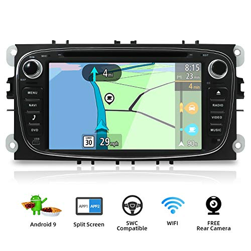 Autoradio Android 9.0 Estereo Compatible para Ford Focus/Mondeo/S-Max/C-Ma/Galaxy Coche Navegacion GPS Bluetooth WLAN Mirror-Link DAB+ |2 Din 7 pulgadas 2G+32G Octa Core |LIBRE Cámara trasera & Canbus