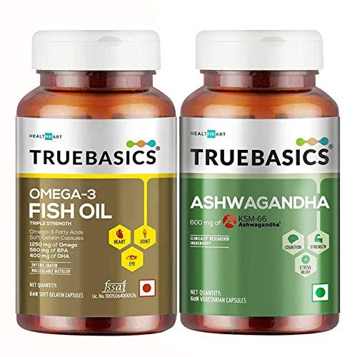 TrueBasics Fish Oil + Ashwagandha, 60 Capsule(s)/Pack