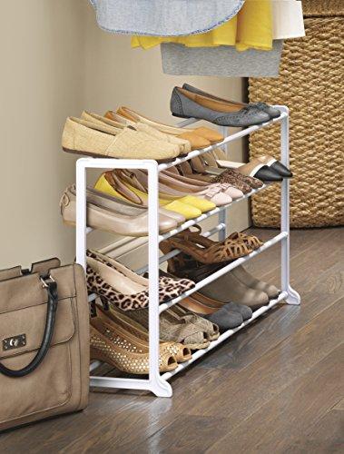 Whitmor 4 Tier 20 Pair Floor Shoe Rack - White New York
