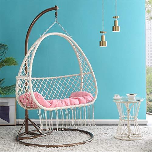 yaunli Hamaca de columpio nórdico para casa, silla para interior de niña, cesta para colgar en el balcón, dormitorio, silla colgante pesada (color: blanco, tamaño: 120 x 195 cm)