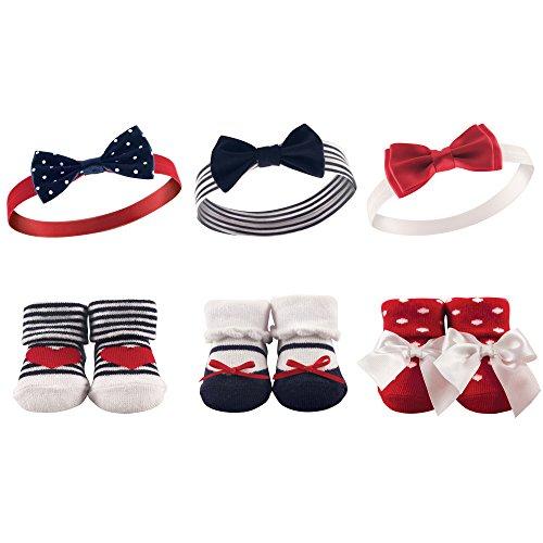 Hudson Baby Unisex Baby Headband and Socks Gift set Red Navy One Size