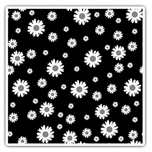 Impresionantes pegatinas cuadradas (juego de 2) 7,5 cm BW – Bonitas flores de margaritas jardín divertidos calcomanías para portátiles, tabletas, equipaje, reserva de chatarras, neveras, regalo fresco #38384