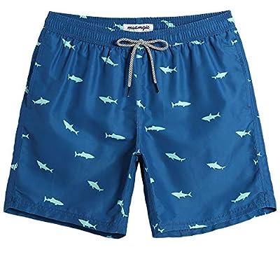 "MaaMgic 7"" Swim Shorts Mens Quick Dry Swim Trunks with Mesh Lining Teen Funny Print Swimwear Swimsuit Blue Shark M"