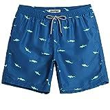 MaaMgic Pantaloncini da Bagno da Uomo Asciugatura Rapida Pantaloncini da Bagno da Ragazzo con Fodera in Mash, Blu squalo, XL