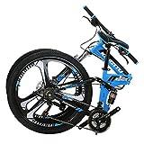 Eurobike Folding Mountain Bikes 26 in 3 Spoke Wheel G6 (Blue)