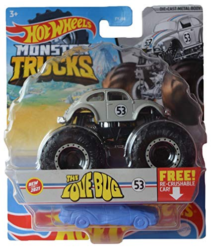 Hotwheels Monster Trucks Herbie The Love Bug, Free Re Crushable Car