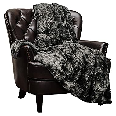 Chanasya Faux Fur Throw Blanket | Super Soft Fuzzy Light Weight Luxurious Cozy Warm Fluffy Plush Hypoallergenic Blanket for Bed Couch Chair Fall Winter Spring Living Room (50  x 65 ) - Black