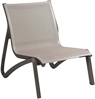 Grosfillex US001288 Sunset Lounge Chair, Without Arms, Solid Gray/Volcanic Black (Case of 4)