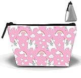 Bolsa de maquillaje portátil para mujer, diseño de unicornios arcoíris