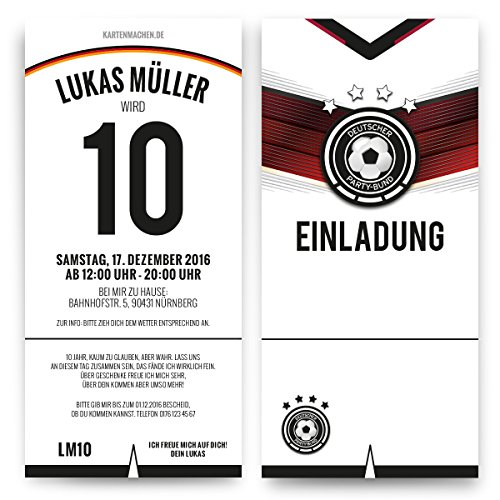 Einladungskarten (30 Stück) zum Kinder Geburtstag - Deutschland Fußball Trikot Einladung