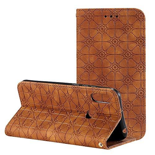 Byr883onJa Funda protectora para Huawei Honor 8A 2020 / Y6 2019 Lucky Flowers con estampado en relieve magnético horizontal Flip Funda de piel con soporte y ranuras para tarjetas (color: marrón)