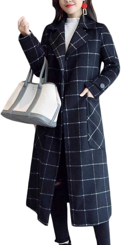 Generic Women's Elegant Plaid Wool Blend Pea Coat Long Trench Coat with Belt