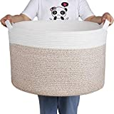 Zilink Extra Large Blanket Basket for Living Room 21.7' x 13.8' Decorative Woven Baskets for Storage Comforter Cotton Rope Basket with Handles for Blankets, Toys, Laundry Organizer