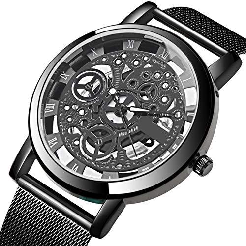 Zwbfu Banda de Malla metálica de Moda Reloj de los Hombres Reloj de Cuarzo Hueco Vintage Reloj con dial Redondo