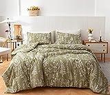 Janzaa Queen Comforter Sets Olive Green Comforter,3 PCS Bedding Sets Floral Comforter Set Plant Flowers Printed on Green Comforter Set