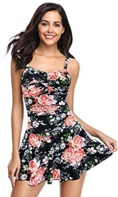 SHEKINI Women's Crossover Ruched Skirt One Piece Swimdress Swimsuit Bathing Suit