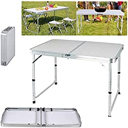 ★Folding Table: Unfolded Size - Approx. 120 x 60 x 70/62/55cm (Adjustable Height), Folded Size - Approx. 60 x 60 x 6.5cm. The tough buckle makes sure that the table is folded and locked. It is easy for storage and transportation; ★The table top is ma...