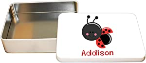"Style In Print Personalized Custom Text Smile Ladybug Aluminun Trinket Box Metal Tin - 6""x8"""