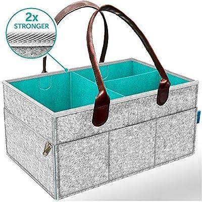 Baby Diaper Caddy Organizer Portable Holder Bag, Large Protable Felt Nappy Caddy, Car Travel & Nursery Organizer
