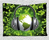 Ambesonne World Tapestry, World of Music Themed Composition DJ Headphones Musical Notes and Earth Globe, Wall Hanging for Bedroom Living Room Dorm, 60' X 40', Lime Green Grey