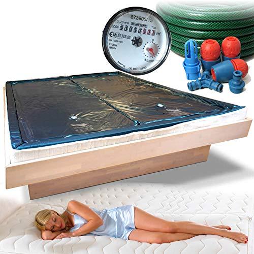 Traumreiter 2X Wasserbettmatratze für Wasserbetten + Sicherheitswanne + Schlauch + Wasserzähler für richtige Wasserbett Füllmenge I Wasserkern Wasserbett Matratze (unberuhigt Free Flow, 200 x 220 cm)