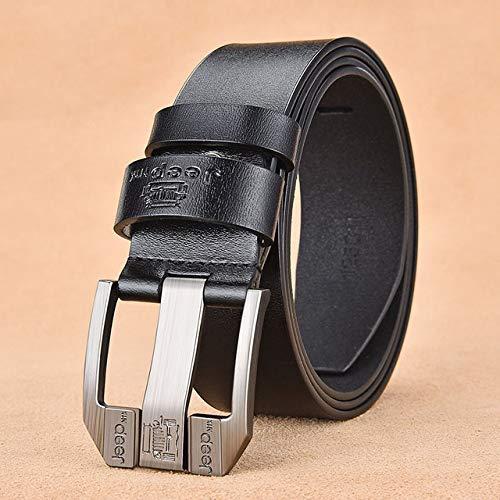 Cinturón de piel de lujo con hebilla de aleación para hombre, estilo retro, juvenil, con jeans (longitud del cinturón: 125 cm, color: negro jeep