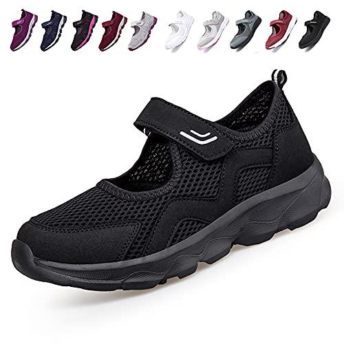 [JIAFO] 安全靴レディース スニーカー 介護シューズ 高齢者シューズ マジックテープ 通気性 柔軟性 軽量 メッシュ 中高齢者靴 ママシューズ 疲れにくい 滑り止めお母さん 婦人靴 看護師 白 黒(22.5cm~26.0cm) (ブラックC, mea