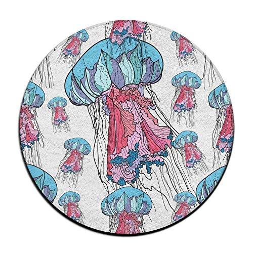 AoLismini Colorful Jellyfish Medusa Rundes Sitzkissen rutschfest Maschinenwaschbar Rundes Sitzkissen Auflage Hocker Schonbezug Matte Teppich