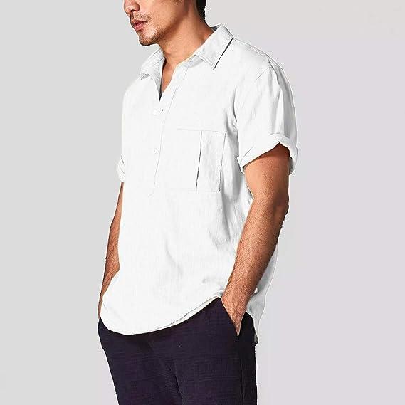 Camisa de algodón para hombre, manga corta, cuello abierto ...