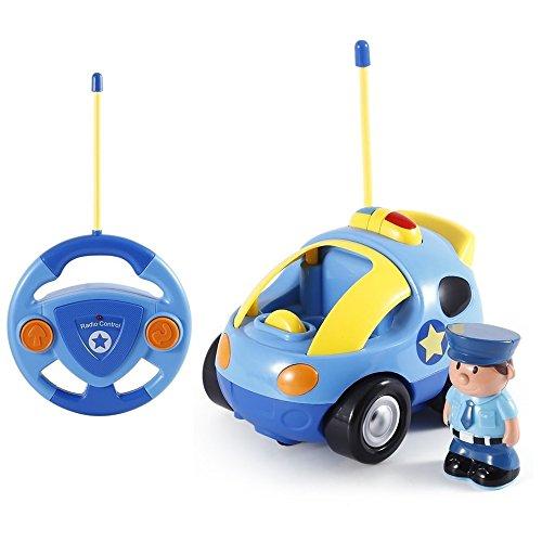 Pup Go Kids Fernbedienung Cartoon Polizeiauto - Radio Control Rennwagen Spielzeug mit Musik und Licht, Jungen Mädchen, Geburtstagsgeschenk für Kinder über 3 4 5 6 Jahre (Polizei)