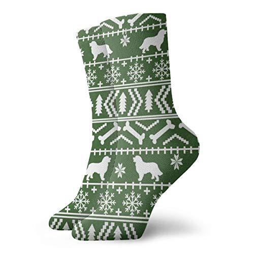 Berner Sennenhund Fair Isle Weihnachts-Silhouette grün Neuheit Mode Crew Socken Unisex Sportsocken Walking Athletic Socken