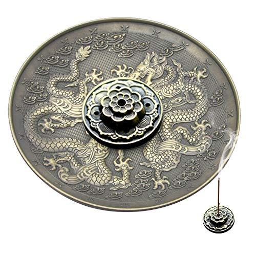 Räucherstäbchenhalter Vintage Räuchergefäß Abdeckung Bronze Chinese Dragon Phoenix Tibetischen Räucherstäbchen Vintage Fengshui Dekoration(bronze)