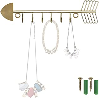 NACTECH Jewelry Organizer Wall Mounted Gold Iron Arrow Hanging Necklace Rack Jewelry Racks with Hooks for Bracelets Earrings Necklaces Hanging